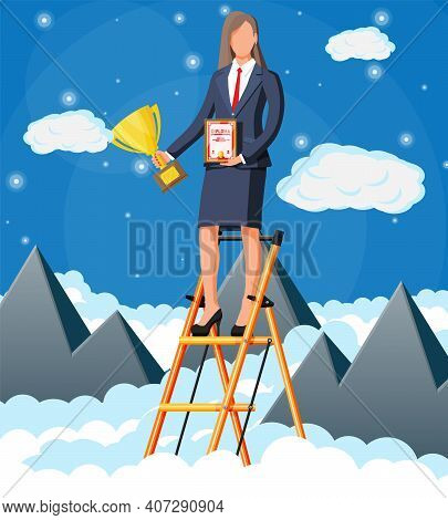 Businesswoman Holding Trophy, Showing Award Certificate Celebrates Victory. Mountains, Cloud, Sky. B