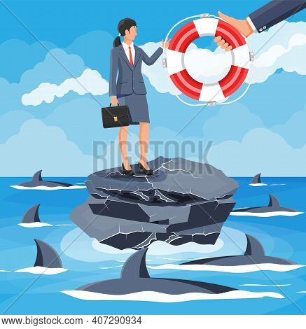Businesswoman On Tiny Island In Sea Surrounded By Sharks Getting Lifebuoy. Helping Business To Survi