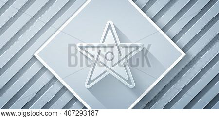 Paper Cut Pentagram Icon Isolated On Grey Background. Magic Occult Star Symbol. Paper Art Style. Vec