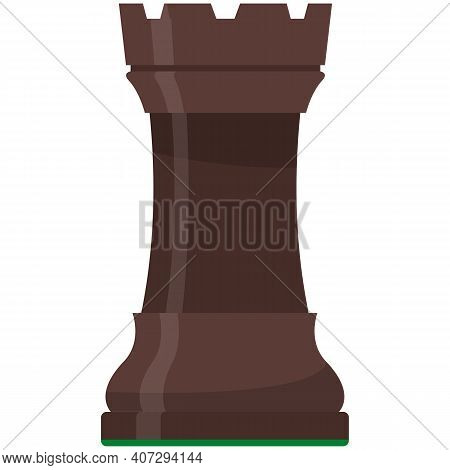 Rook, Hog Or Pig Chess Piece Isolated Flat Vector Icon