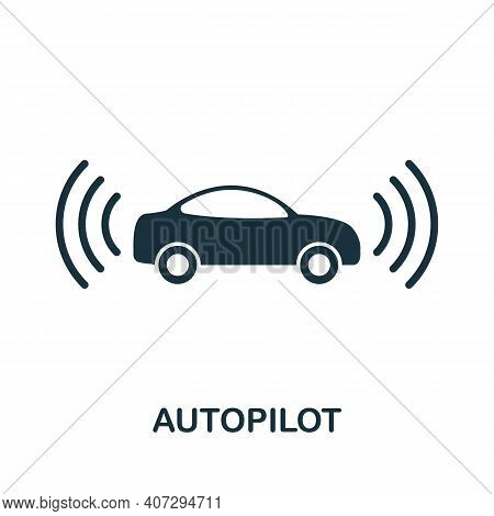 Autopilot Icon. Simple Element From Technology Collection. Filled Monochrome Autopilot Icon For Temp