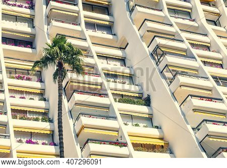 Detail Of A Facade With Palm Trees In The Foreground.highly Repetitive Downtown Condominium Building