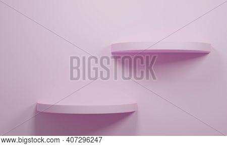 Pink Round Shelf. Empty Shelves, 3d Rendering