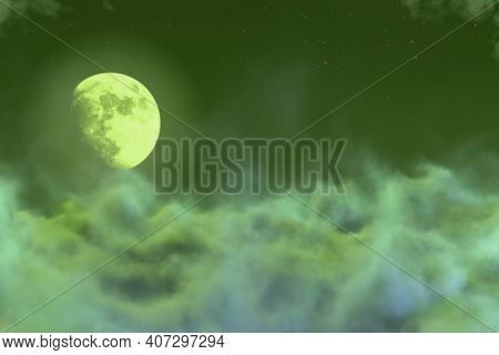 Abstract Background Creative Illustration Of Gothic Haze With Moon Concept You Can Use For Decoratin