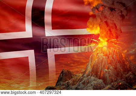 Conical Volcano Eruption At Night With Explosion On Norway Flag Background, Problems Of Eruption And