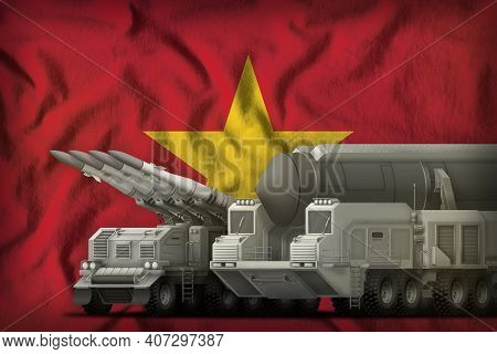 Rocket Forces On The Vietnam Flag Background. Vietnam Rocket Forces Concept. 3d Illustration