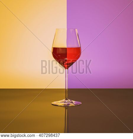 Red wine wineglass refraction with yellow purple background. 3D illustration