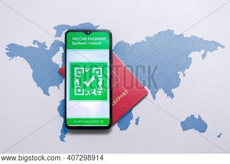 Medicine And Health. Electronic Immunity Passport With A Covid-19 Vaccination Stamp On A Smartphone