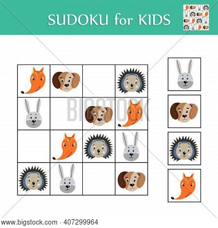 Sudoku Game For Children With Pictures. Logic Kids Activity Sheet. Colorful Cute Animals. Educationa