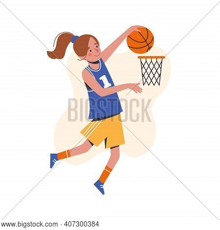 The Girl Throws A Basketball Into The Basket. Flat Design Concept With Cute Kid Playing Basketball.