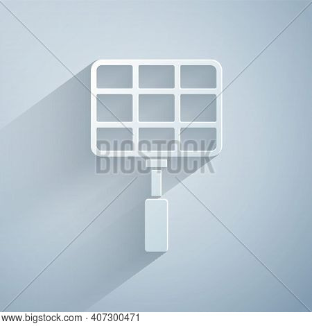 Paper Cut Barbecue Steel Grid Icon Isolated On Grey Background. Top View Of Bbq Grill. Wire Rack For