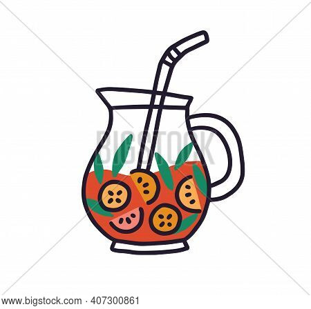 Glass Jug With Fruit Lemonade. Red Drink With Mint Leaves In Pitcher With Straw. Colored Flat Vector