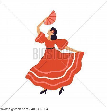Beautiful Spanish Flamenco Dancer Dancing With Fan In Traditional Red Dress. Hispanic Passion Woman