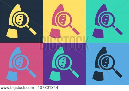 Pop Art Magnifying Glass With Footsteps Icon Isolated On Color Background. Detective Is Investigatin