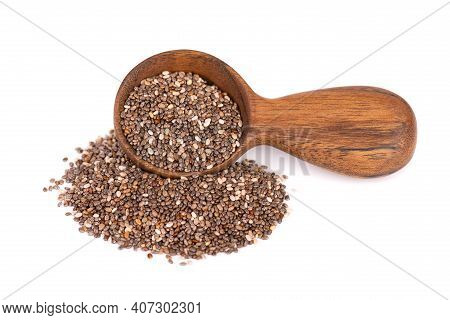 Chia Seeds In Wooden Spoon, Isolated On White Background. Healthy Superfood. Organic Chia Seeds.