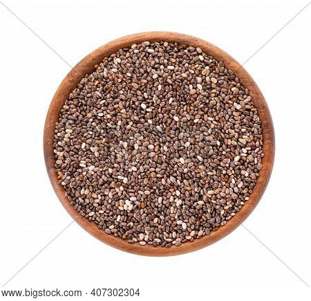 Chia Seeds In Wooden Bowl, Isolated On White Background. Healthy Superfood. Closeup Macro Of Organic