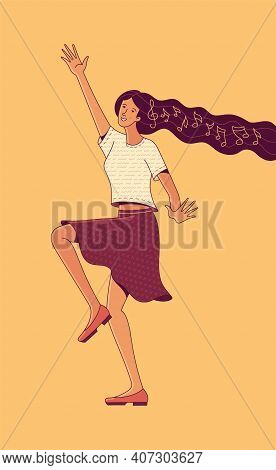 Picture Of Smiling Active Young Woman Character With Music Notes In Long Loose Flowing Hair Dancing