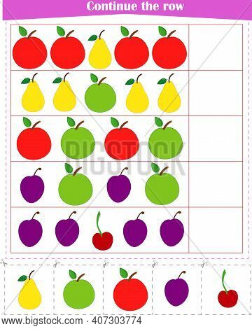 Logic Game For Children. Continue The Row Of Fruits. Worksheet . Vector Illustration