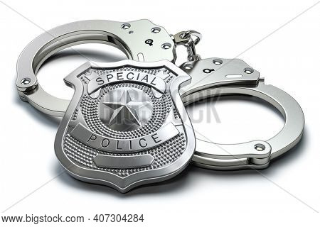 Special police badge and handcuffs isolated on white background. Law enforcement amd security. 3d illustration