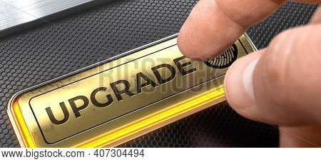 Upgrade Written On Golden Button Of Conceptual Keyboard. Upgrade Button On The Futuristic Keyboard.