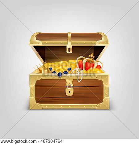 Old Wooden Chest With Treasures Realistic Composition With Image Of Treasure Coffer Filled With Gold