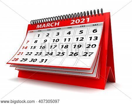 3d Desktop Calendar March 2021 Isolated In White Background, March 2021 Spiral Calendar
