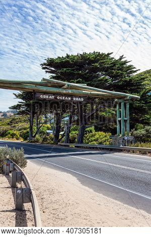 The Great Ocean Road runs along the Pacific coast of Australia.  Considered the most scenic road in the world. The road is a war memorial to the victims of the First World War.