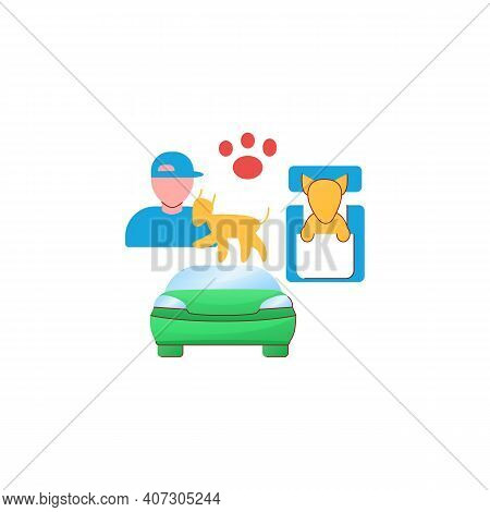 Dog Car Seat Flat Icon. Help Small Dogs See Out Window While Staying Restrained In Back Seat. Protec