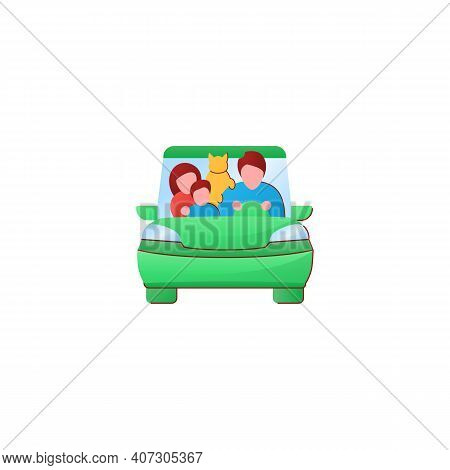 Family Road Trip Flat Icon. Happy Parents, Child And Pet Travel In Car On Holiday. Traveling On Vaca