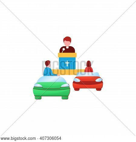 Church Service Flat Icon. People Listen To Priest Drive-in Concept. Car Near Small Church. Chapel Se