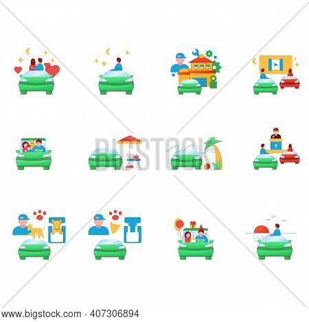 Getaway Car Flat Icons Set. Relax And Travel By Automobile Concept. Contains Such Icons As Garage, C