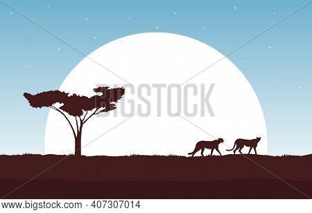 Cheetah In Big Sun Animal Savanna Landscape Africa Wildlife Illustration