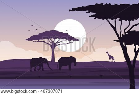 Elephant Giraffe Animal Savanna Landscape Africa Wildlife Illustration