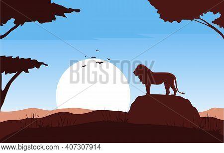 Lion On Rock Animal Savanna Landscape Africa Wildlife Illustration