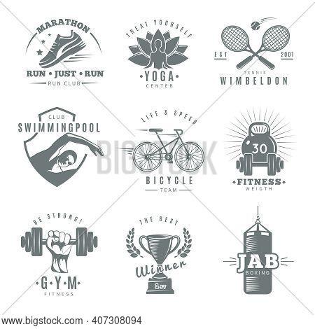 Gray Isolated Fitness Gym Label Set With Marathon Run Club Tennis Wimbledon Jab Boxing Descriptions