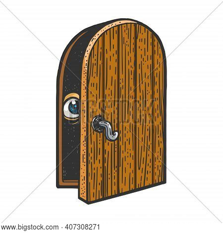 Social Anxiety Disorder Metaphor. Eye Peeps Out The Door Ajar Color Sketch Engraving Vector Illustra