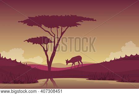 Little Deer Oasis Animal Savanna Landscape Africa Wildlife Illustration