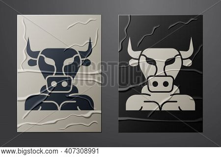 White Minotaur Icon Isolated On Crumpled Paper Background. Mythical Greek Powerful Creature The Half