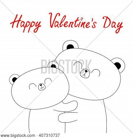 Happy Valentines Day. Bear Hugging Couple Family. Hug, Embrace, Cuddle. White Contour Silhouette. Cu