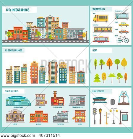 City Buildings Infographics Includes A Residential Buildings Public Buildings Transportation Flora A