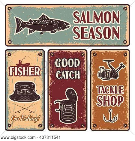 Four Horizontal And Vertical Fishing Iron Emblem Set With Description Of Salmon Season Go Fishing Ta