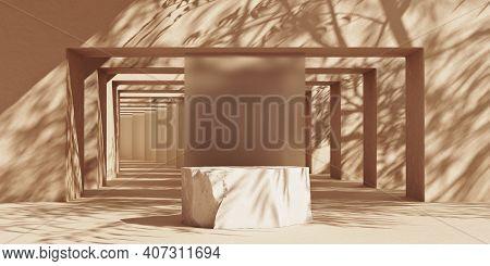 Stone Slab Podium Abstract Background With Sunshade Shadows On Stone Arcs. Minimal Mockup Background