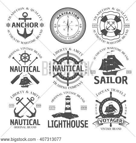 Nautical Emblem Set With Anchor Authentic Maritime Brand Navigation Trading Company Nautical Origina