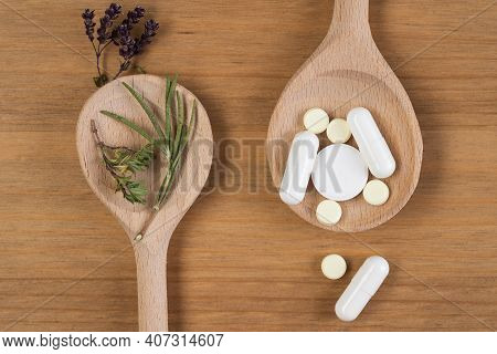 Herbal Medicine Vs Chemical Medicine The Alternative Healthy Care On White Background