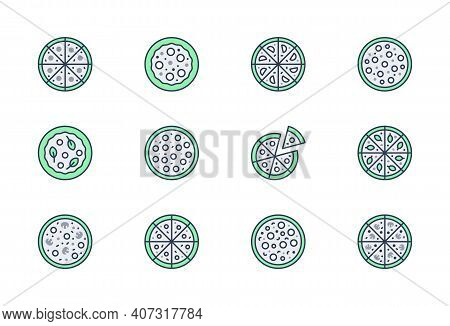 Whole Pizza Line Icons. Vector Illustration Set With Icon As Sliced Cheesy Pepperoni, Margarita And