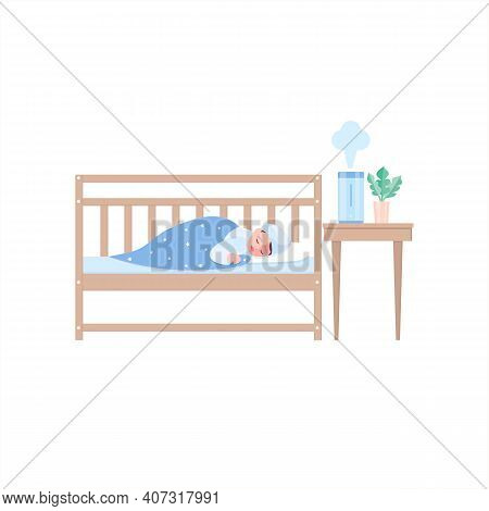 A Small Baby Sleeps In His Crib, And Next To Him On The Table There Is A Humidifier, An Air Purifier