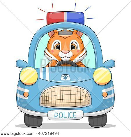 Cute Cartoon Police Car With A Tiger. Vector Vehicle Illustration Isolated On White.