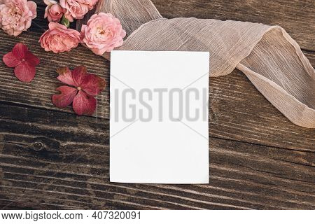 Summer Wedding Still Life Scene. Blank Greeting Card Mock-up. Floral Composition With Pink Roses, Hy