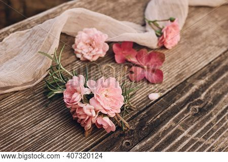 Summer Feminine Wedding Styled Stock Photo. Floral Composition With Pink Roses, Hydrangea Flowers An