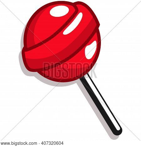 Red Lollipop Candy Vector Cartoon Icon Isolated On White Background.